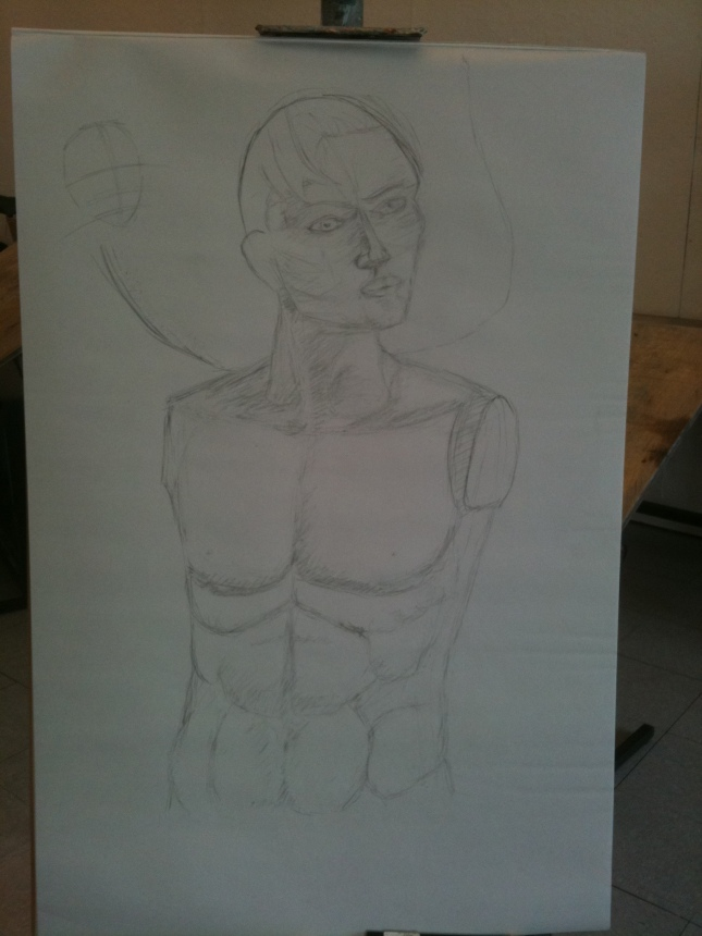 Sketch of a man's head and torso