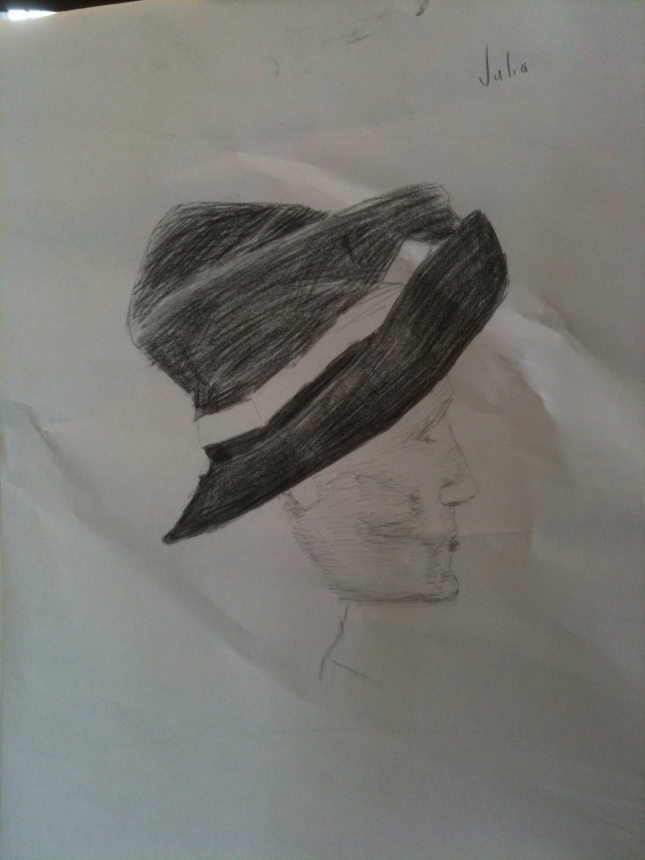 Sketch of a man wearing a mad-hatter style velvet hat
